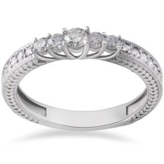 14k White Gold 1/2ct TDW Vintage Diamond Anniversary Ring