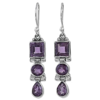 Handcrafted Sterling Silver 'Lavender Glamour' Amethyst Earrings (India)