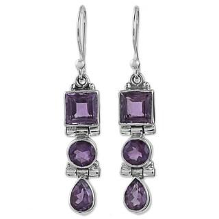Handmade Sterling Silver 'Lavender Glamour' Amethyst Earrings (India)
