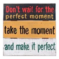 Handmade Albesia Wood 'Perfect Moment' Wall Art Sign (Indonesia)