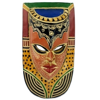 Handcrafted Sese Wood 'Queen on the Wall' African Wall Mask (Ghana)