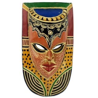 Handmade Sese Wood 'Queen on the Wall' African Wall Mask (Ghana)