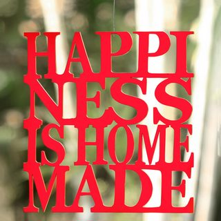 Handcrafted Wood 'Happiness is Home Made in Red' Wall Art Sculpture (Indonesia)
