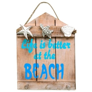 Handcrafted Albesia Wood 'Life is Better at the Beach' Coat Rack (Indonesia)