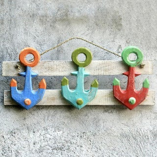 Handcrafted Albesia Wood 'Three Anchors' Coat Rack (Indonesia)