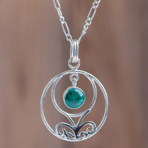 Handmade Sterling Silver 'Halo of Grace' Chrysocolla Necklace (Peru)