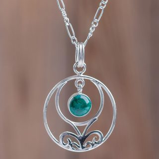 Handmade Sterling Silver 'Halo of Grace' Chrysocolla Necklace (Peru)