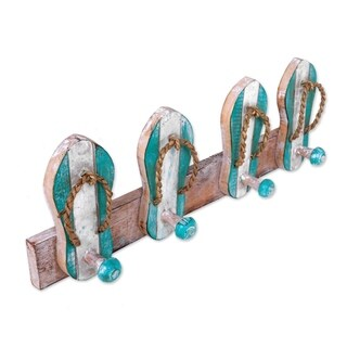 Handcrafted Albesia Wood 'Flip Flops in Aqua and White' Coat Rack (Indonesia)