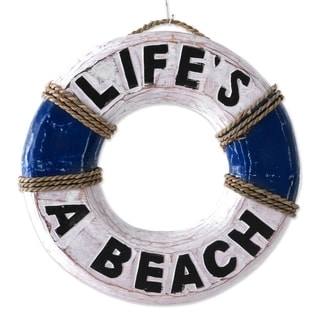 Handcrafted Albesia Wood 'Life Ring' Wall Sign (Indonesia)