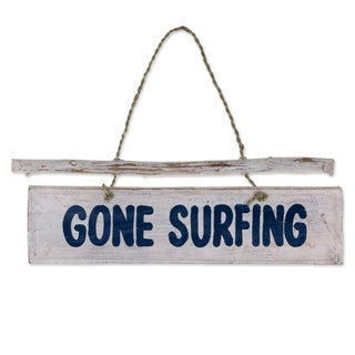 Handmade Albesia Wood 'Gone Surfing' Wall Sign (Indonesia)