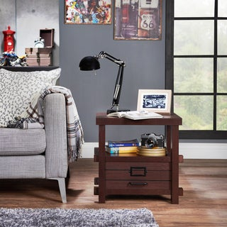 Furniture of America Sylvan Rustic Plank Style Espresso 1-drawer End Table