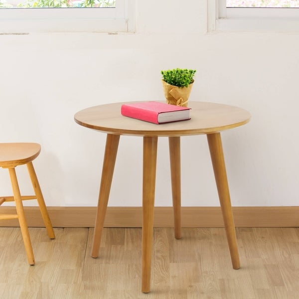 american trails mesa mid century modern round end table with