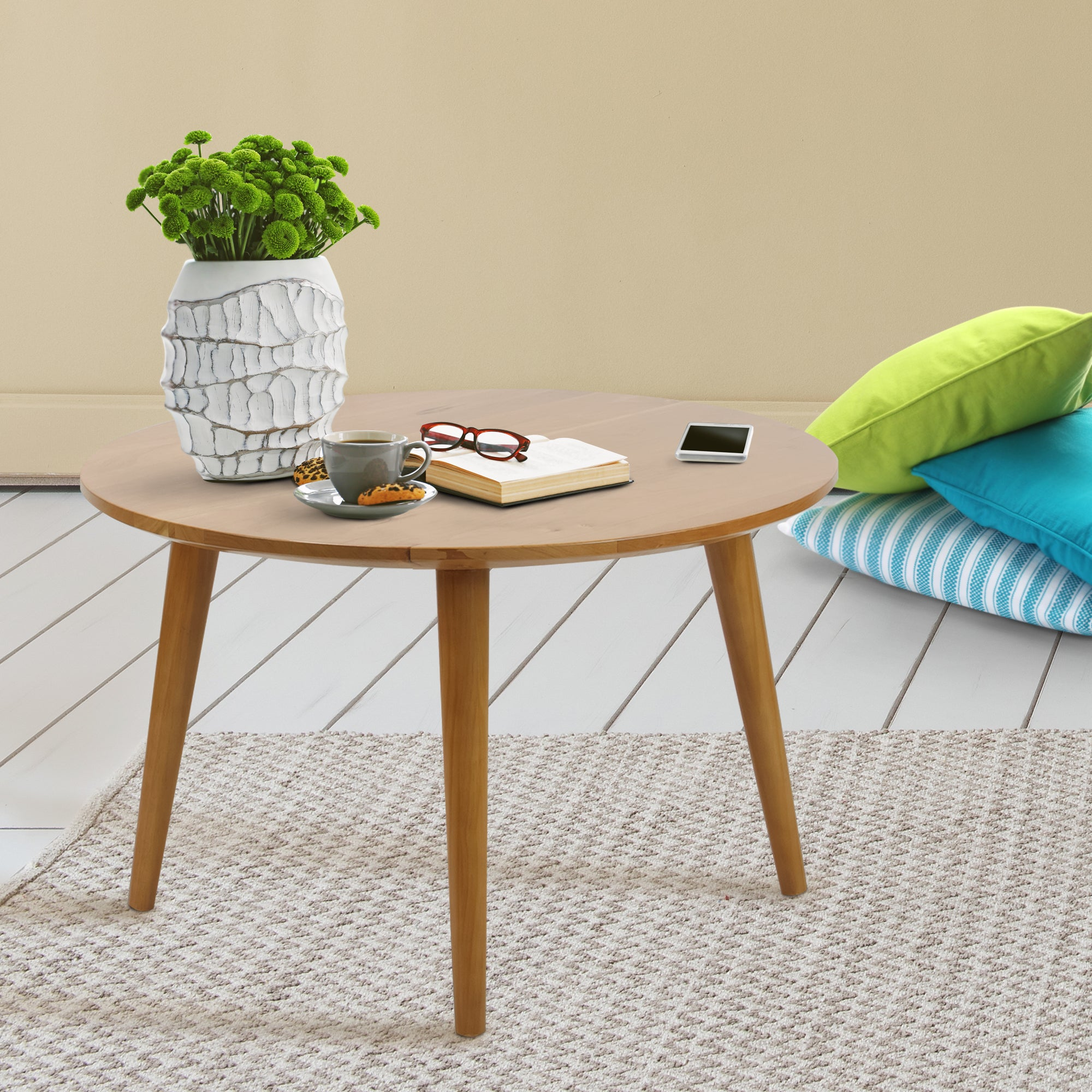 Wood For Coffee Table Top: Shop American Trails Mesa Mid Century Modern Round Coffee