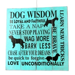 Handcrafted Albesia Wood 'Dog Wisdom' Wall Art Sign (Indonesia)