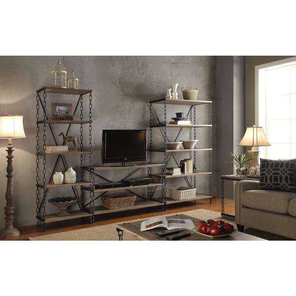 jodie rustic oak and antique black tv stand