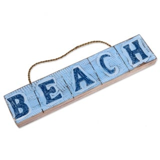 Handcrafted Albesia Wood 'Beach in Sky Blue' Wall Sign (Indonesia)