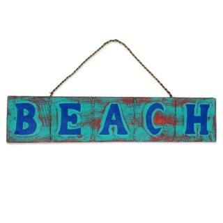 Handcrafted Albesia Wood 'Beach in Turquoise and Red' Sign (Indonesia)