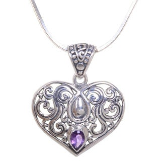 Handcrafted Sterling Silver 'Tears from the Heart' Amethyst Necklace (Indonesia)