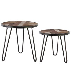 Black Coated Finish Metal Round Nesting Accent Table with Hairpin Legs and Wood Parquet Design Top (Set of 2)