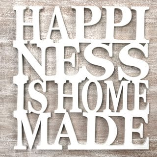 Handcrafted Wood 'Happiness is Homemade in White' Wall Art Sculpture (Indonesia)