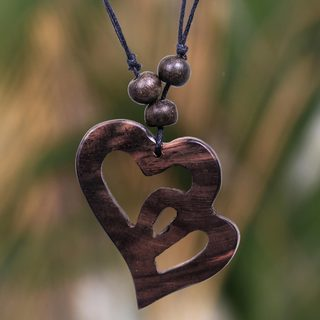 Handcrafted Sono Wood Cotton 'Two Hearts Entwined' Necklace (Indonesia)