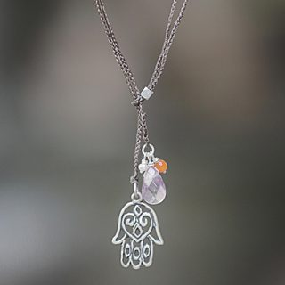 Handcrafted Sterling Silver 'Hamsa Hand' Multi-gemstone Pearl Lariat Necklace (3 mm) (Indonesia)