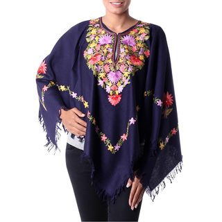 Handcrafted Wool 'Royal Garden' Midnight Blue Poncho (India)