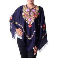 Handmade Wool 'Royal Garden' Midnight Blue Poncho (India)
