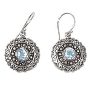 Handcrafted Sterling Silver 'Solar Flares' Blue Topaz Earrings (Indonesia)