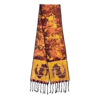 Handmade Cotton 'Golden Gye Nyame' Batik Scarf (Ghana)