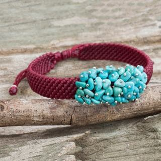 Handcrafted Sterling Silver 'Cranberry Chic' Reconstituted Turquoise Bracelet (Thailand)