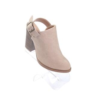 """Hadari Women's Pointy Beige Ankle Strap Boots with 3.5"""" Platform Heel"""