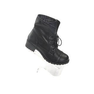 Hadari Women's Black Stitch Frontal Lace Boots with foldover plaid print