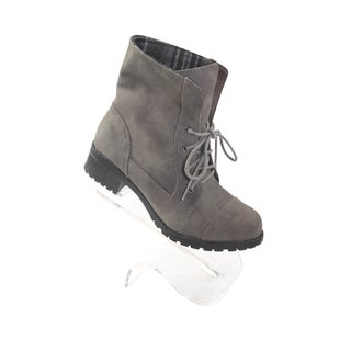 Hadari Women's Gray Stitch Frontal Lace Boots with foldover plaid print