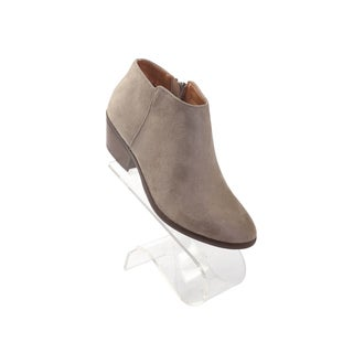 "Hadari Women's Round Beige Mug Low Ankle Suede Boots with Side Zip and 1.5"" Heel"
