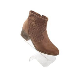 "Hadari Women's Pointy Brown Size Zip Ankle Boots with 2"" Chunky Heel with Mesh"