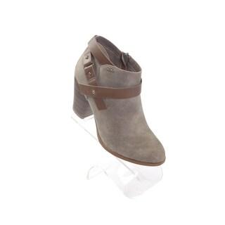 """Hadari Women's 3.0"""" Heel Round Beige Ankle Size Zip Boots"""