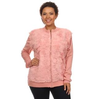 Hadari Women's Plus Size Long Sleeve Faux Fur Zip Up Front Casual Fall Jacket