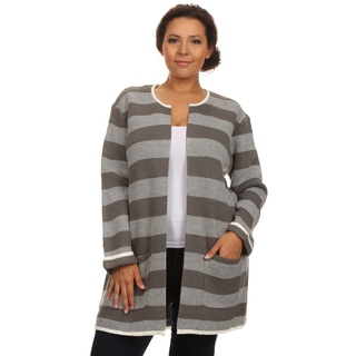 Hadari Women's Plus Size Long Sleeve Round Neck Open Front Striped Cardigan with Front Side Pocket