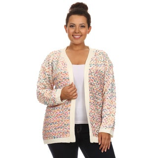 Hadari Women's Plus Size Long Sleeve Open Front Casual Cardigan