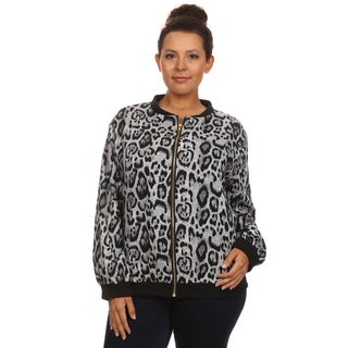 Hadari Women's Plus Size Long Sleeve Bomber Zip Up Front Jacket