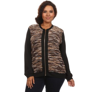 Hadari Women's Plus Size Long Sleeve Crewneck Casual Zip Up Front Sweater