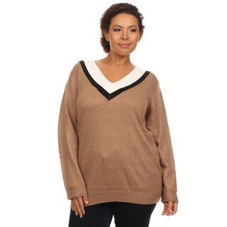 Hadari Women's Plus Size Long Sleeve V-Neck Casual Fall Sweater