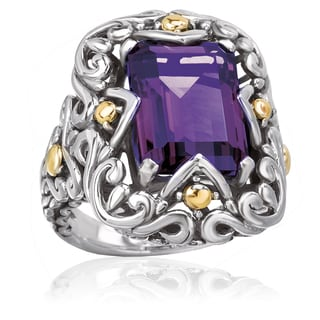 Avanti Sterling Silver and 18K Yellow Gold Amethyst and Swirl Design Fashion Ring