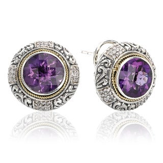 Avanti Sterling Silver and 18K Yellow Gold 1/4 CT TDW Diamond and Round Amethyst Button Earrings