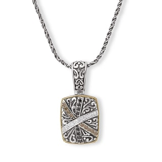 Avanti Sterling Silver and 18K Yellow Gold 3/8CT TDW White Black and Brown Diamond Fashion Pendant