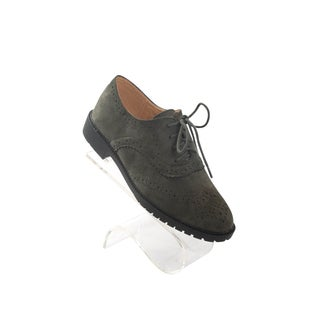 """Hadari Women's Olive Oxford Suede Flats with frontal lace with 1"""" Heel"""