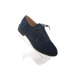 Hadari Women's Navy Suede Oxfords