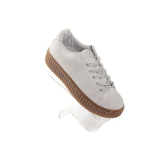 Hadari Womens Beige Winnie Low Top Frontal Lace Suede Sneakers