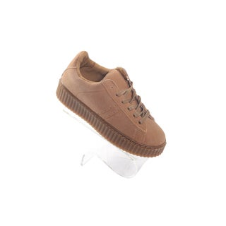 Hadari Womens Tan Winnie Low Top Frontal Lace Suede Sneakers